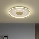 Gold Square/Round Flushmount Lamp Minimal LED Metal Flush Ceiling Light Fixture, 16