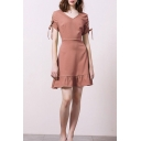 Leisure Solid Color Drawstring Short Sleeve V-neck Ruffled Short A-line Dress
