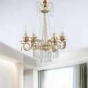 Iron Gold Chandelier Candlestick 4 Bulbs Traditional Hanging Ceiling Light with Crystal Drapes