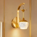 Seedy Crystal Inverted Goblet Sconce Postmodern 1/2-Head Dining Room Wall Lamp in Gold
