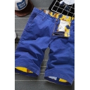 Simple Men's Shorts Plain Zip Fly Button Detail Straight Fit Chino Shorts with Pockets