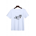 Cool Mens Cartoon Pattern Short Sleeve Crew-neck Relaxed Fit T-shirt