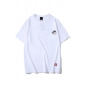Classic Figure Cloud Pattern Round Neck Short Sleeve Regular Fit Graphic Tee Top for Men