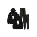 Leisure Number Footprint Graphic Long Sleeve Pouch Pocket Relaxed Hoodie & Drawstring Waist Ankle Cuffed Carrot Fit Sweatpants Set