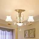 Traditional Urn Shape Semi Flush Light 3/6 Bulbs Frosted Glass Flush Mounted Lamp in Gold