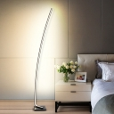 Arched Line Stand Up Lamp Simplicity Acrylic Black/White/Gold LED Reading Floor Light, White/Warm Light