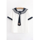Preppy Looks Contrasted Short Sleeve Striped Sailor Collar Badge Embroidered Tie Relaxed Tee Top for Girls
