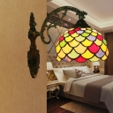 Antiqued Brass Single Sconce Lamp Tiffany Stained Glass Squama Wall Mounted Lamp