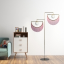 Gold Semicircle Floor Lighting Contemporary 2 Heads Metal Standing Floor Lamp with Pink Tassels Deco