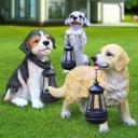 Lifelike Dog and Lantern Ground Lamp Contemporary Resin Doorway Solar Powered LED Light in White/Yellow/Black-White