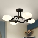 Countryside Globe Semi Flush Lighting 4/6 Bulbs White Frosted Glass Light Fixture with Frame in Black