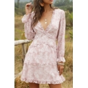 Pretty Ladies Allover Floral Printed Stringy Selvedge Long Sleeve Deep V-neck Short A-line Dress