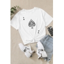 Summer Girls Poker Printed Short Sleeve Crew Neck Relaxed T Shirt in White