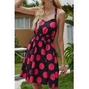 Gorgeous Ladies Polka Dot Print Bow Tied Halter Gathered Waist Short Pleated A-line Cami Dress in Black