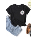 Chic Girls Letter Space Girl Alien Graphic Short Sleeve Crew Neck Slim Fit Tee Top