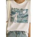 Popular Womens Funny Oil Painting Print Short Sleeve Round Neck Relaxed Fit T Shirt in White