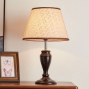 1-Light Fabric Table Lamp Countryside Brown Geometric/Rose/Lines Pattern Sitting Room Night Stand Light
