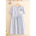 Simple Girls Pocket Cat Embroidered Striped Short Sleeve Round Neck Button up Drawstring Midi Swing Dress in Blue