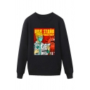Trendy Doctor Virus Letter Ule Stand Together Printed Pullover Long Sleeve Round Neck Regular Fitted Graphic Sweatshirt for Men