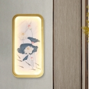 Fabric Watercolor Lotus Wall Mural Lamp Chinese Style Gold LED Wall Mounted Lighting