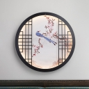 Round Bedroom Wall Mural Lighting Fabric Asian LED Sconce with Peach Branch and Magpie Pattern, Black