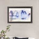 Mountain and River Scene Wall Mural Lamp Asia Metal Dark Blue LED Flush Mount Wall Sconce