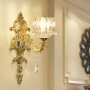 Traditional Lotus Wall Light Fixture 1/2-Bulb Crystal Sconce Lighting in Gold for Living Room