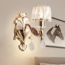 1-Light Wall Mount Fixture Traditional Tapered Beveled Crystal Prism Wall Lamp in Gold