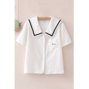 Daily Womens Flower Embroidered Contrast Trim Sailor Collar Single Breasted Short Sleeve Regular Fit Shirt with Pocket