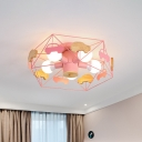 5-Light Bedroom Semi Flush Chandelier Macaron Pink/Grey/Green Ceiling Mount Lamp with Pentagon Metal Cage and Wood Car Decor