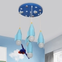 Rocket Boy Room Ceiling Hanging Light Iron 5 Heads Cartoon Multi Light Pendant in Blue