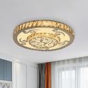LED Flush Mount Ceiling Fixture Modernism Cloud Patterned Round Crystal Flushmount Lighting in Nickel