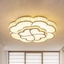 White 2-Layer Clover Ceiling Flush Modern Crystal Embedded Bedroom LED Flush Mount Lighting