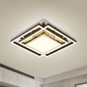 Nickel Square Overlap Ceiling Flush Modern Style Metal Bedroom LED Flush Mount Lamp with Inserted Crystal