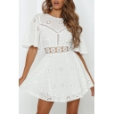 Allover Floral Embroidered Short Sleeve Round Neck Hollow out Cute Short Pleated A-line Dress in White