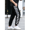 Mens Creative Striped Letter Black Fashion Pattern Cuffed Drawstring 7/8 Length Tapered Fit Black Joggers