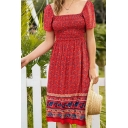 Ethnic Womens Ditsy Floral Printed Short Sleeve Square Neck Mid A-line Dress in Red