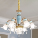 Mid Century Floral Hanging Lighting 6-Bulb Clear Crystal Glass Chandelier Lamp Fixture with Blue Ceramics Deco