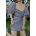 Gorgeous Ladies Blue Mesh Puff Sleeve Sweetheart Neck Bows Ruched Front Mini A-line Dress