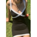 Pretty Girls Lace Trimmed V-neck Mini Bodycon Slip Dress in Black