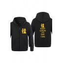 Dressy Character Letter Keep Calm and Say I Do Printed Zipper up Pocket Drawstring Long Sleeve Regular Fitted Graphic Hoodie for Men