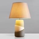 1-Light Night Table Light with Barrel Shade Fabric Traditional Tearoom Ceramics Desk Lamp in Grey