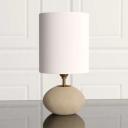 Light Khaki Oval Reading Light Countryside Stone Single Head Living Room Fabric Table Lamp