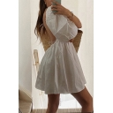 Girls Lovely White Puff Sleeve Square Neck Bow Tied Cut out Back Short Pleated Babydoll Dress