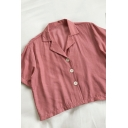 Simple Womens Solid Color Button Down Lapel Collar Short Sleeve Loose Fit Tunic Shirt