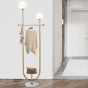 Spherical Standing Light Postmodern White Glass 2-Bulb Bedroom Floor Lamp with Tray and Clothes Rack in Gold