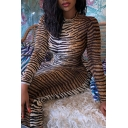 Popular Womens Tiger Print Long Sleeve Crew Neck Mid Bodycon T Shirt Dress in Brown