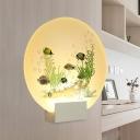 Underwater World Wall Mural Lamp Modern Acrylic White LED Sconce Lighting Fixture for Kids Room
