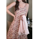 Summer Girls Pink Ditsy Floral Printed Spaghetti Straps Mid Pleated A-line Cami Dress with Sun Protection Shirt Set