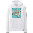 Dressy Mens Doctor Map Virus Injector Pattern Pocket Drawstring Long Sleeve Regular Fit Hooded Sweatshirt
